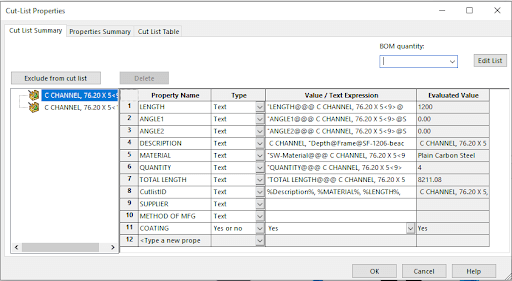 Cut List Properties after custom Property added.
