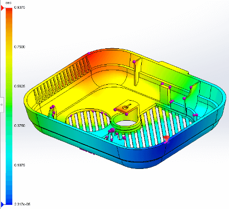 SOLIDWORKS Plastics Standard air traps along with injection location in red color