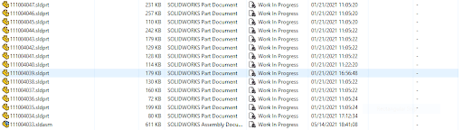 PDM Vault view after copy tree, renamed PDM serial numbers