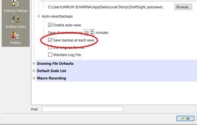 Draftsight save backup at each save